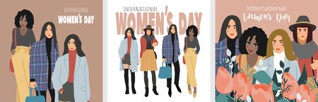 International Womens Day. Set of cards with Abstract women with different skin colors. Flat vector illustration