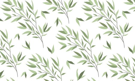 Seamless horizontal pattern with branches of a willow on a white background. Vector flat illustration