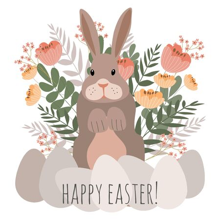 Cute gray rabbit on a floral background with eggs. Spring vector illustration