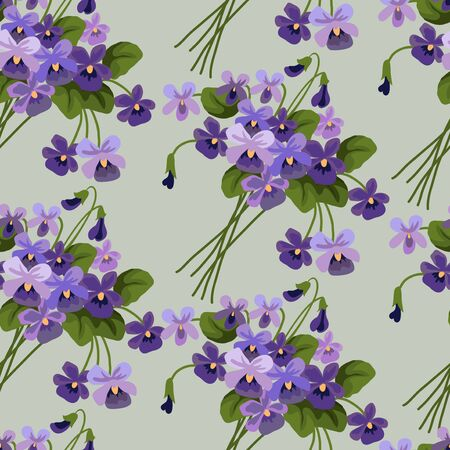 Seamless pattern with bouquets of violet on a blue background. Cute cartoon vector illustration