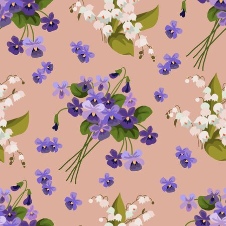 Seamless pattern with bouquets of violet and may-lily on a pink background. Cute cartoon vector illustration 矢量图像