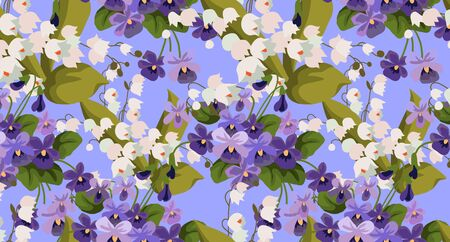 Horizontal Seamless pattern with bouquets of violet and may-lily on a blue background. Cute cartoon vector illustration