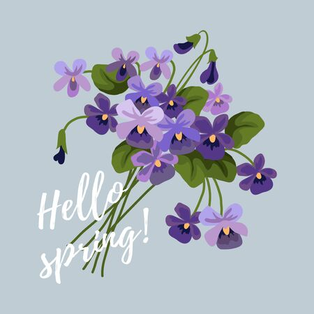 Spring vector illustration with flowers, bouquet of lilac cute violet