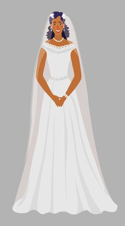 A young girl in a wedding dress. Isolated Bride in white with a veil. Cute vector cartoon illustration