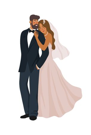 A pair of newlyweds isolated on a white background. Cute vector cartoon illustration 矢量图像