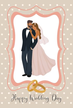 A pair of newlyweds and wedding rings in cute frame. Cute vector illustration in flat style.