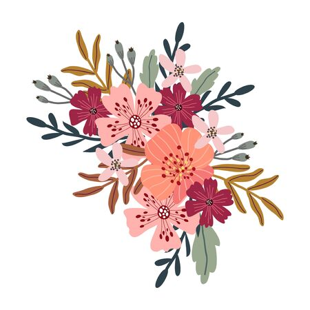 Isolated bouquet of cute abstract hand draw flowers. Floral vector illustration 矢量图像