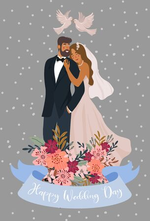 Couple of newlyweds with pigeons and ribbon with text Cute vector wedding illustration