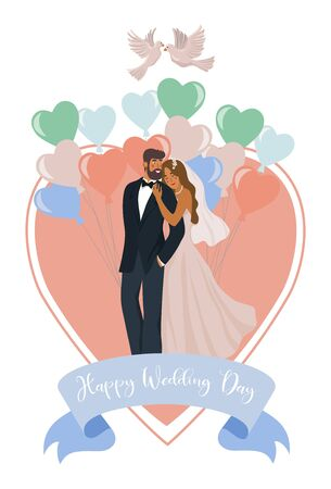 A pair of newlyweds, balloons, heart and pigeons isolated on a white background. Cute vector wedding illustration