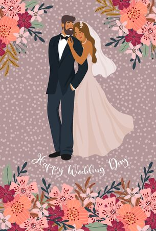 A pair of newlyweds and flowers. Cute vector cartoon illustration in flat style.