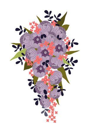 Isolated wedding bouquet for bride of cute abstract hand draw flowers. Floral vector illustration