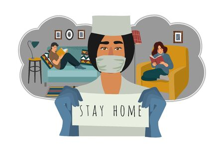 Stay home. Vector flat illustration with doctor and quarantined people at home.