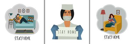Stay home. Set of vector flat illustrations with doctor and quarantined people at home.