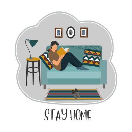 Stay home. A young man sitting on a sofa and reading a book in an apartment. Vector flat cartoon illustration.