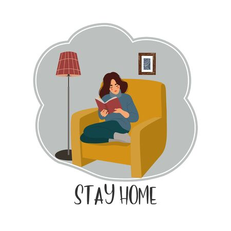 Stay home. Girl sitting in a chair and reading a book in an apartment. Vector flat cartoon illustration.