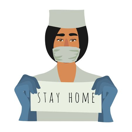 Stay home. Isolated Medical worker, doctor, calling to stay in quarantine at home. Vector flat illustration.