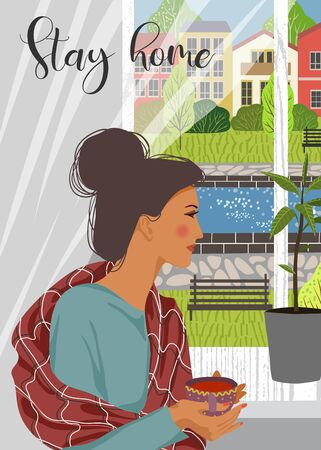Stay home. Flat vector vertical illustration of woman looking out the window. Outside the window is a deserted cityscape.