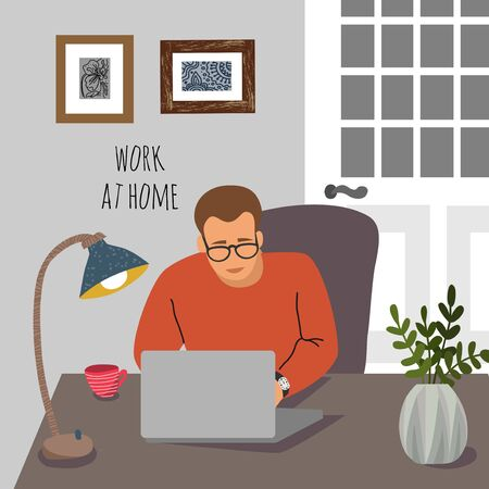Work at home. Young man at the desk with a laptop in the interior of the apartment.Concept for self-isolation during quarantine 矢量图像