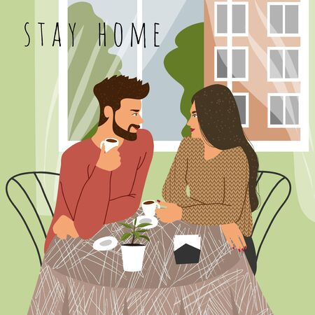Stay at home. Flat vector concept illustration of a couple, sitting at the table with coffee near the window at home. 矢量图像