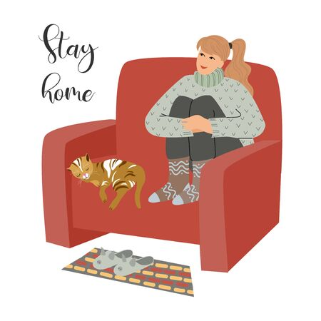 Stay home. Vector illustration with girl and cat sitting on a armchair at home. Concept for self-isolation during quarantine
