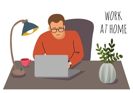 Vector illustration with man working at home. Concept for self-isolation during quarantine