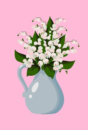 Vector flat illustration with spring flowers, bouquet of white cute lilies of the valley in vase on a pink