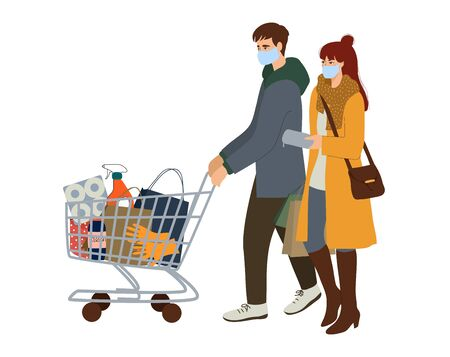 Vector illustration with couple with a basket of essentials shopping in a hypermarket. Concept of visiting public places during quarantine.