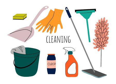 Cleaning service flat illustration. Set of Isolated objects for house cleaning services with various equipment and cleaning tools.