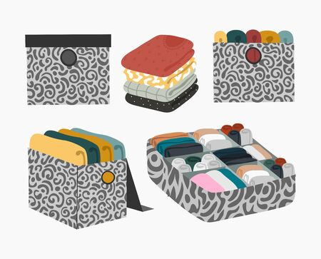 Set of Boxes with folded sweaters and underwear for organizing order and storage in the closet isolated on white. Vector flat illustration