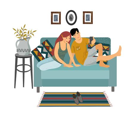 Stay home. A young couple sitting on a sofa and taking selfies isolated on a white background. Vector flat illustration. 矢量图像