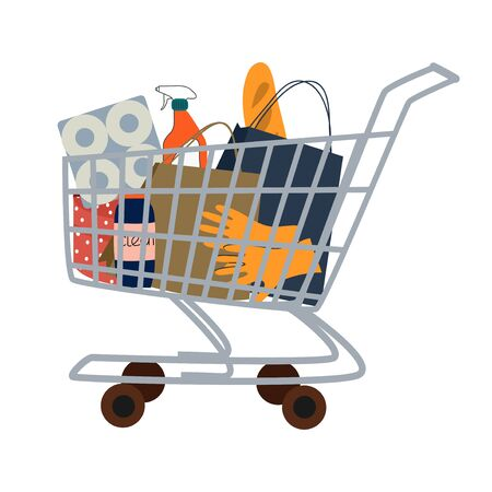 Isolated trolley on wheels with food, gifts, hygiene and cleaning products on a white . Cute flat vector illustration 矢量图像