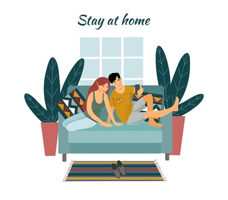 Stay home. A young couple sitting on a sofa and taking selfies. Vector flat illustration.