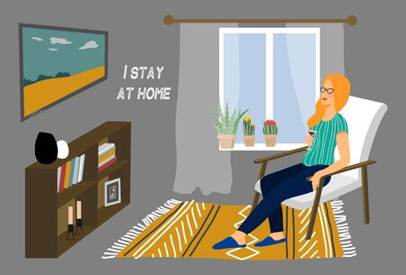 Stay at home. Girl sitting on a chair in the home interior. Vector cartoon illustration in flat 矢量图像