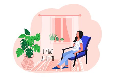 Stay at home. Girl sitting on a chair in the home interior. Vector flat illustration. 矢量图像