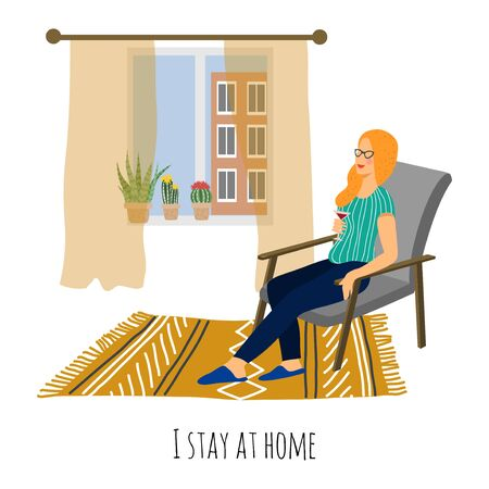 I stay at home. Girl sitting in a armchair near the window in the home interior. Vector flat cartoon illustration on white 矢量图像