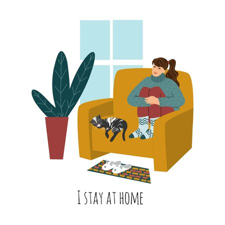 I stay at home. Vector illustration with girl and cat sitting on a armchair near the window . Concept for self-isolation during quarantine