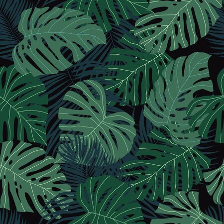 Seamless pattern with tropical leaves on a dark. Cartoon vector illustration in flat style