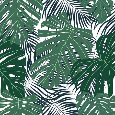 Seamless pattern with tropical leaves on a white background. Cartoon vector illustration in flat