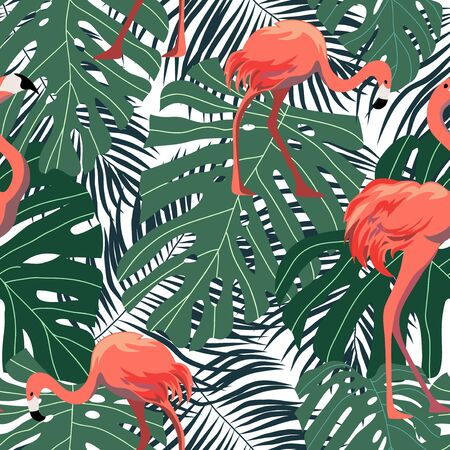Seamless pattern with pink flamingos on background with tropical leaves. Cartoon vector illustration