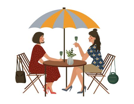 Summer cafe and two girlfriends. Street restaurant. Isolated vector illustration