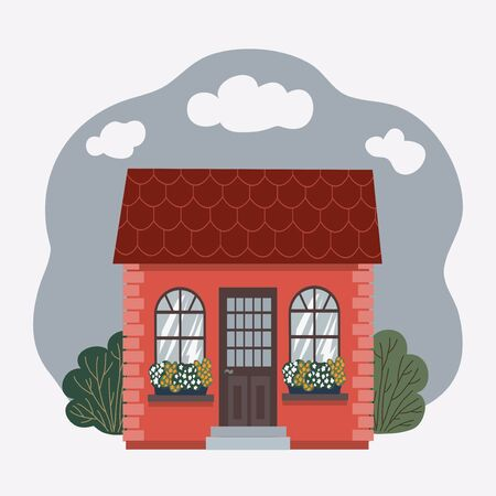 Vector illustration of detailed house icon with green plants isolated on white background.