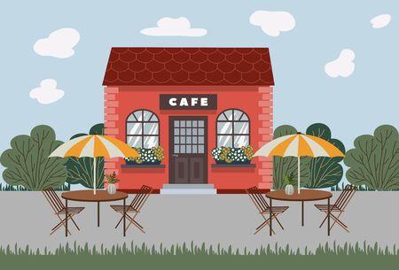 Street Cafe. Coffeeshop. Urban spring summer landscape. Flat vector illustration