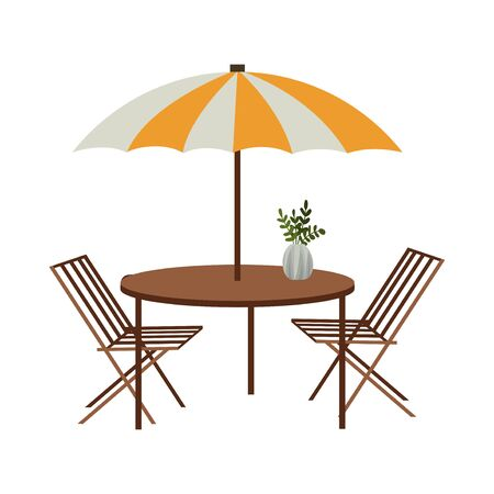 Street summer cafe. Isolated on a white background chairs and table with awning. Vector flat illustration