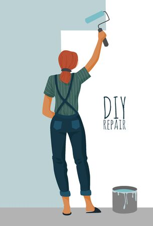 DIY repair. Woman painting a wall with a paint roller. Cute flat vector illustration.