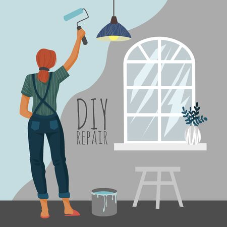 DIY repair. Woman painting a wall with a paint roller in room. Cute flat vector illustration.