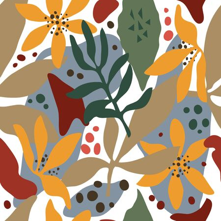 Hand drawn vector seamless pattern. Leaves, abstract shapes, bright colors. White background 矢量图像