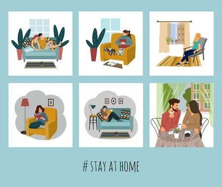 Set of vector illustration with people at home. Concept for self-isolation during quarantine 矢量图像