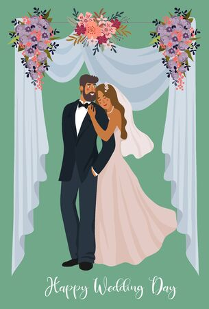 A pair of newlyweds on the background of a wedding tent and flowers. Cute vector cartoon illustration in flat . 矢量图像