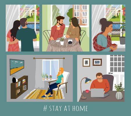Set of vector illustration with people at home in interior. Concept for self-isolation during quarantine 矢量图像