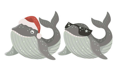 Set of Isolated baby whale with red santa hat and dark glasses. Vector illustration